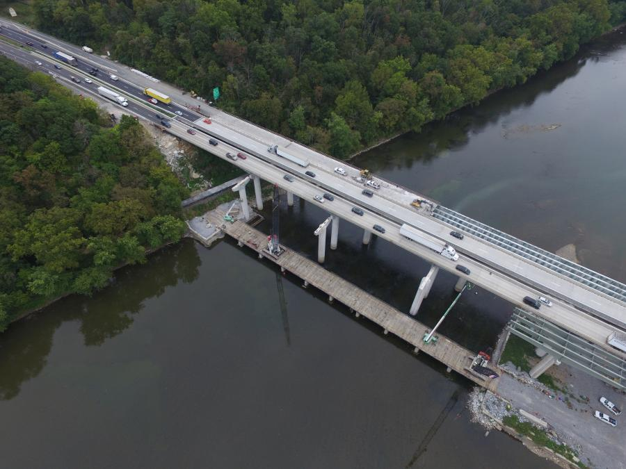 The I-81 bridge project, which includes spans for northbound and southbound traffic, stretches from Williamsport in Washington County, Md., across the river to Falling Waters in Berkeley County, W.V. (MDOT photo)