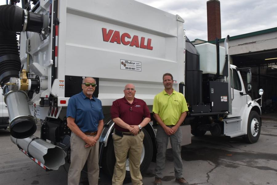"""(L-R) are Attilio """"Butch"""" Frati, city of Wilkes-Barre director of operations; Sam Rizzo, Medico Construction Equipment territory manager; and Eric Dietrich, Vacall regional sales manager."""