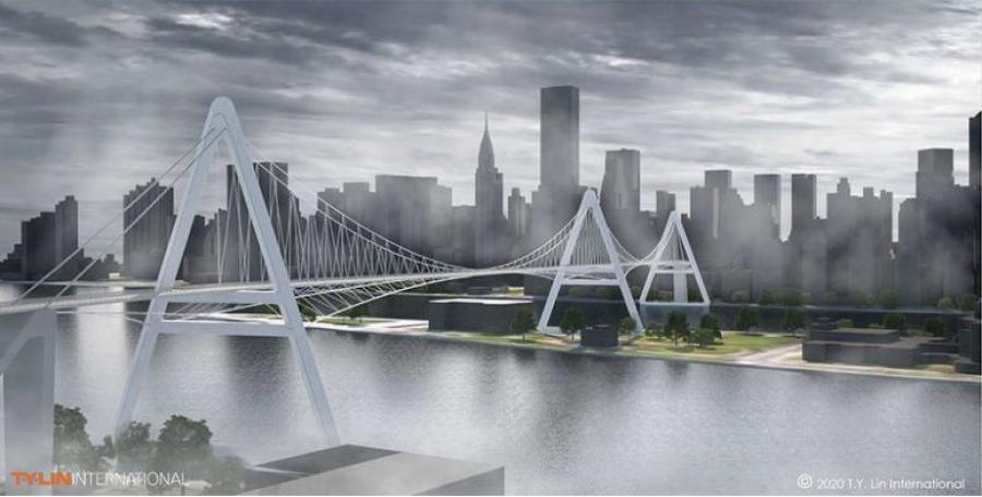Queens Ribbon view from Queens to Manhattan. (T.Y. Lin International rendering)