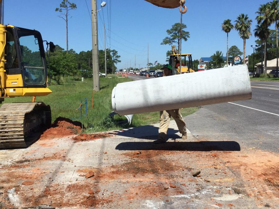 The project schedule is based on many benchmarks: The installation of the 24-in. temporary sewer line bypass valve installation (done by the city); 11 pipe crossing crossings that required daily lane closures; and paving of the new westbound lane, as well as the drainage, have been completed. (John G Walton Construction photo)