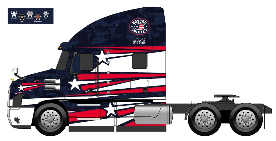 "Mack Trucks, the ""Official Hauler of NASCAR,"" unveiled two customized truck wrap designs for its Mack Anthem haulers as part of the NASCAR Salutes Refreshed by Coca-Cola campaign, a demonstration of gratitude and respect for the United States Armed Forces and front-line workers battling the coronavirus pandemic."