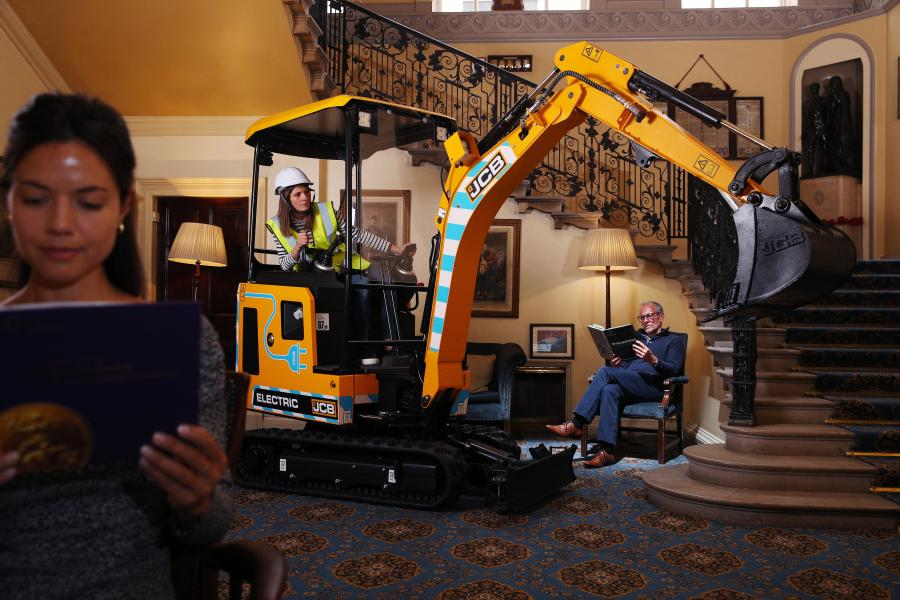 The low noise and zero emissions JCB19C-1E mini excavator pictured in the reading room of London's Caledonian Club.