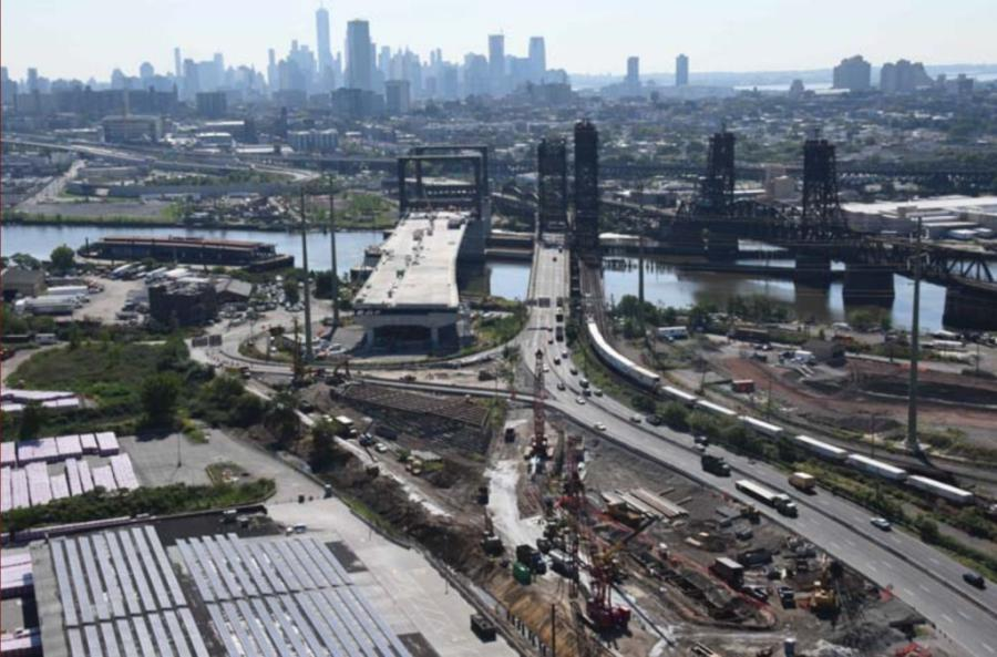 Construction on the long-awaited Route 7/Wittpen Bridge in Jersey City should conclude in 2022. (George Harms Construction Company photo)