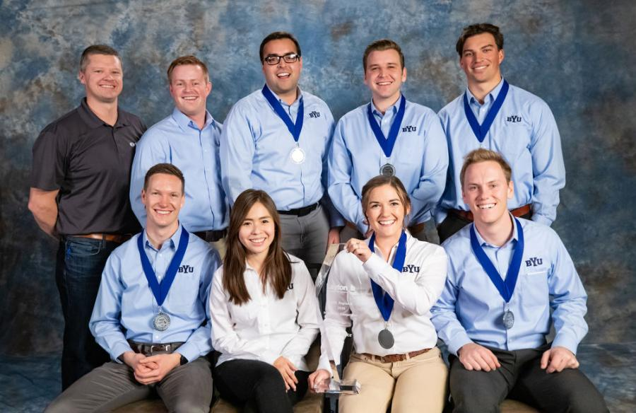 Members of the BYU college student team accept the first-place honor at the 2020 Associated Schools of Construction Awards.
