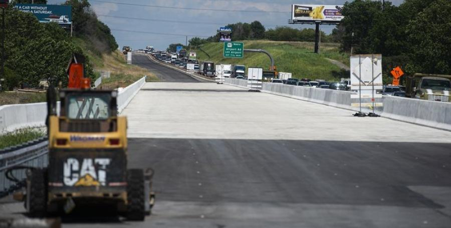 Traffic flows on Route 22 with a new portion of the bridge nearly finished. The project is entering its final stages. (The Morning Call photo)