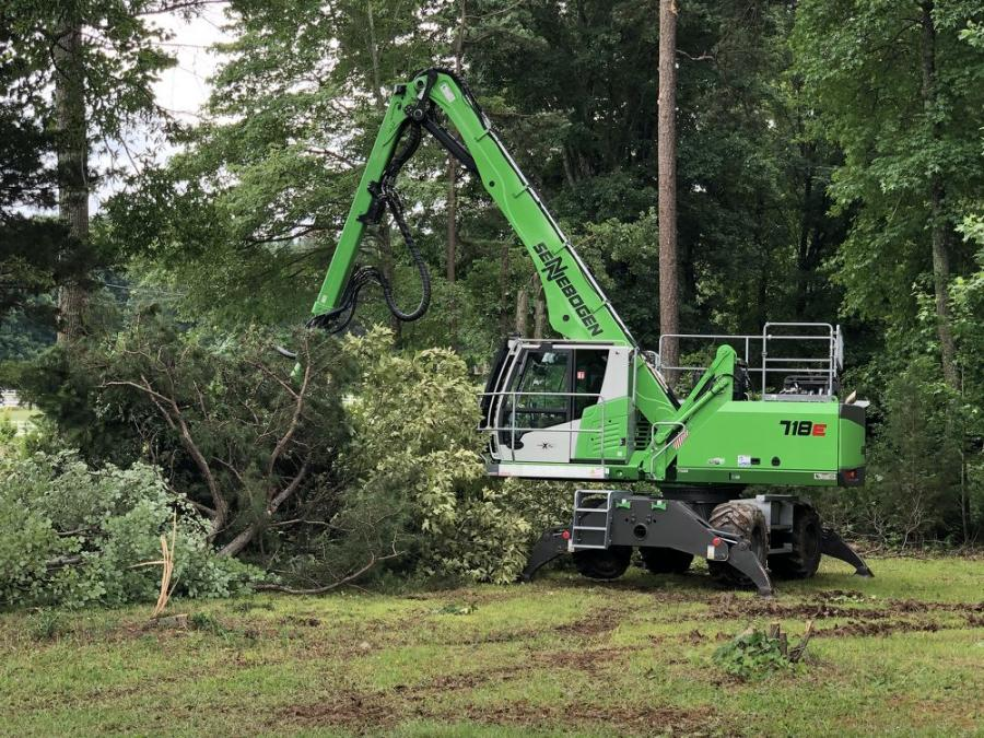 On June 18, 2020, Sennebogen held a live demo day of its 718 tree handlers at the company's Stanley, N.C., headquarters.