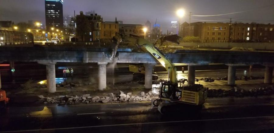 """""""Although the site is within a closed traffic zone, the room is so narrow that we regularly work at night to close adjacent lanes to provide us with space for our equipment,"""" said Steve Marincic, Kokosing's Columbus area manager. (Kokosing Construction Company Inc. photo)"""