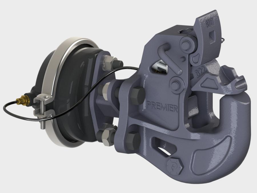The Saf-T-Latch — part number 820ELA — is connected to a Premier air chamber. If a driver forgets to close the hitch manually, the coupling is designed to close when the emergency brake is released.