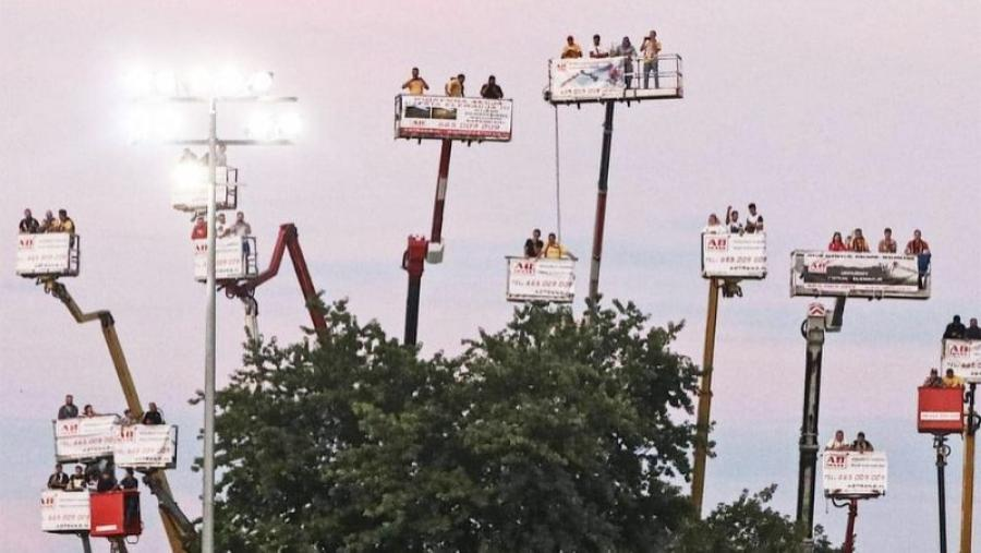 Fans of Motor Lublin race team hired cranes to support their team and abide by social-distancing restrictions in Poland. (Instagram photo)