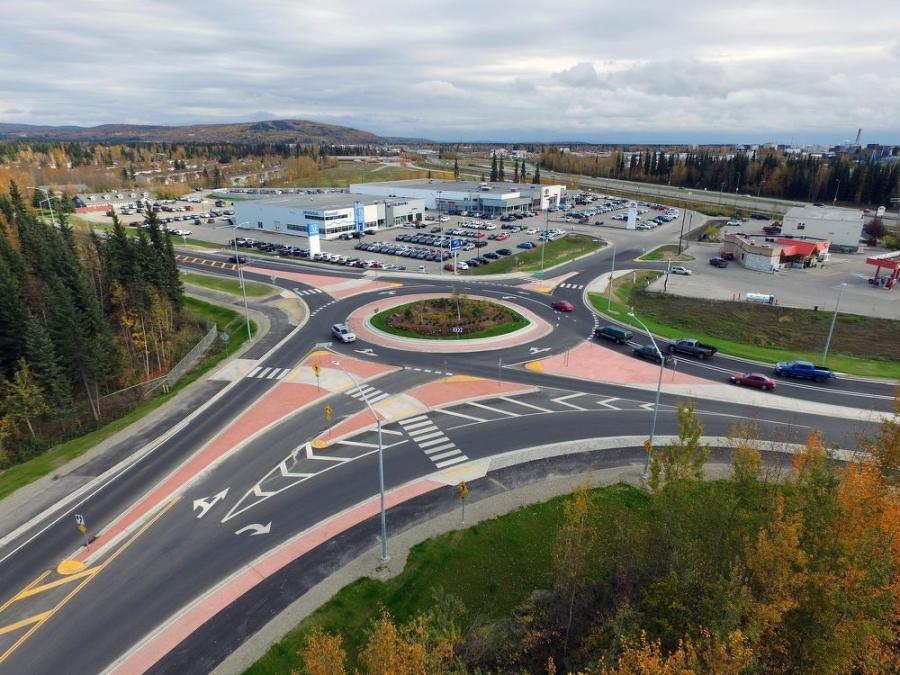 Colaska completed the roundabout project in Fairbanks ahead of winter. The project required 5,700 tons of asphalt and provided better drainage, safer access and improved durability for traffic flow that includes heavy trucks.