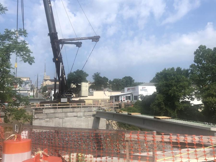 Construction has begun again on the Notre Dame Arch Bridge in Clarksburg, W.V. (Exponent Telegram/Christian Palmer photo)