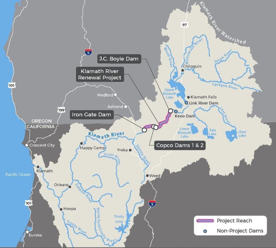 A map of the Klamath Dams