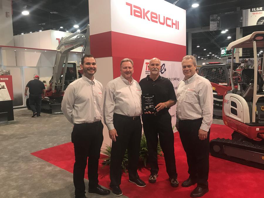(L-R): Robert Vistad, Takeuchi west region regional business manager with Hampton Wideman, Randy Cram and Henry Lawson, of Takeuchi, director of sales.