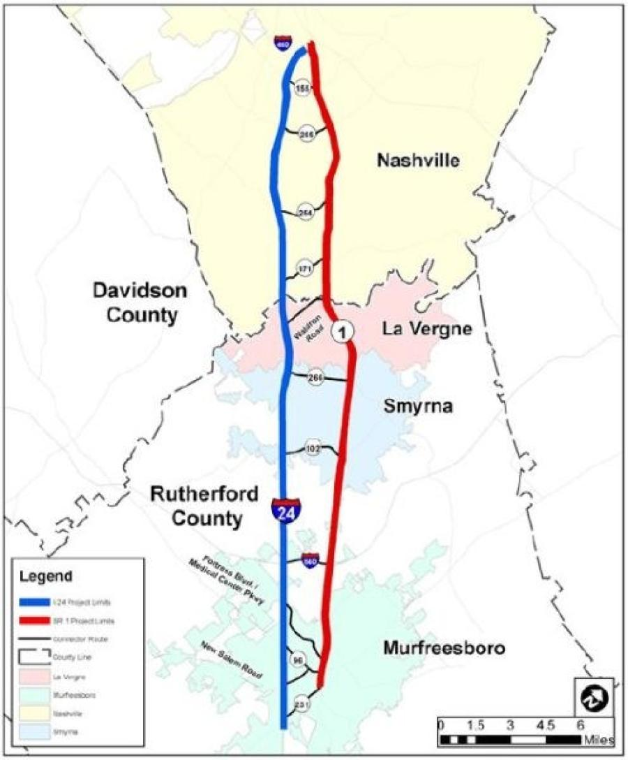 Location of I-24 Smart Corridor (Tennessee Department of Transportation photo)