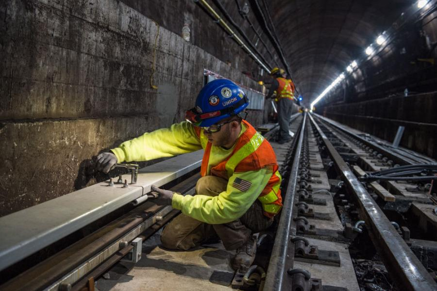 Crews working on L Train in NYC last December. The same techniques will be used on the F Train tunnel. (MTA photo)