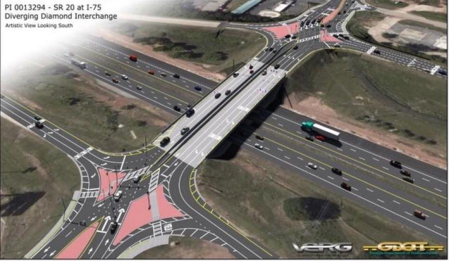 I-75 at state route 20 / exit 218 will be converted into a DDI. CMES Inc. of Norcross, Ga., was awarded the lowest bid in the amount of $5,215,335.76.  (Georgia DOT photo)