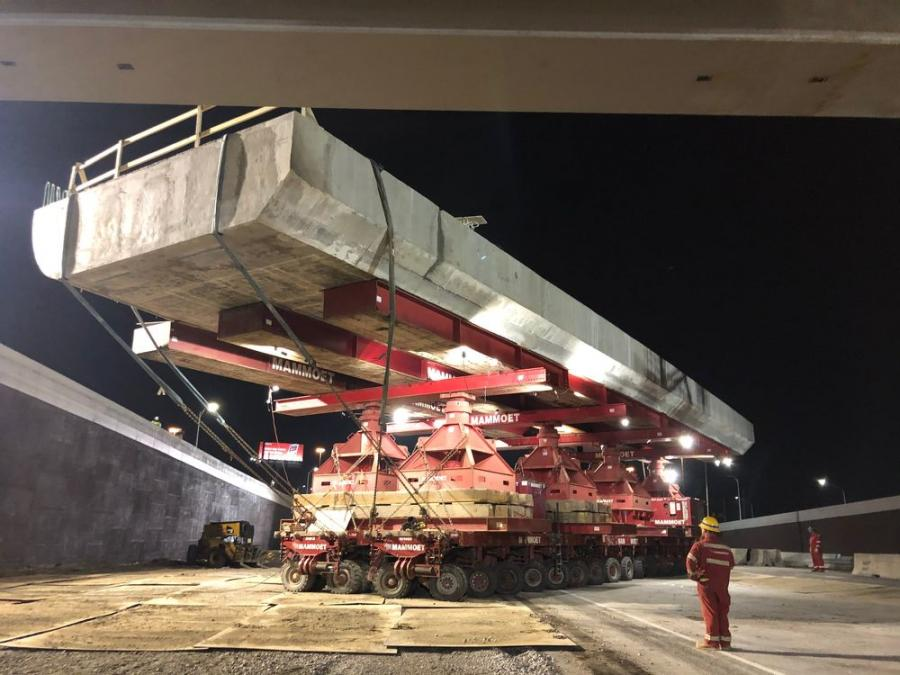 Setting the first span using SPMTs.