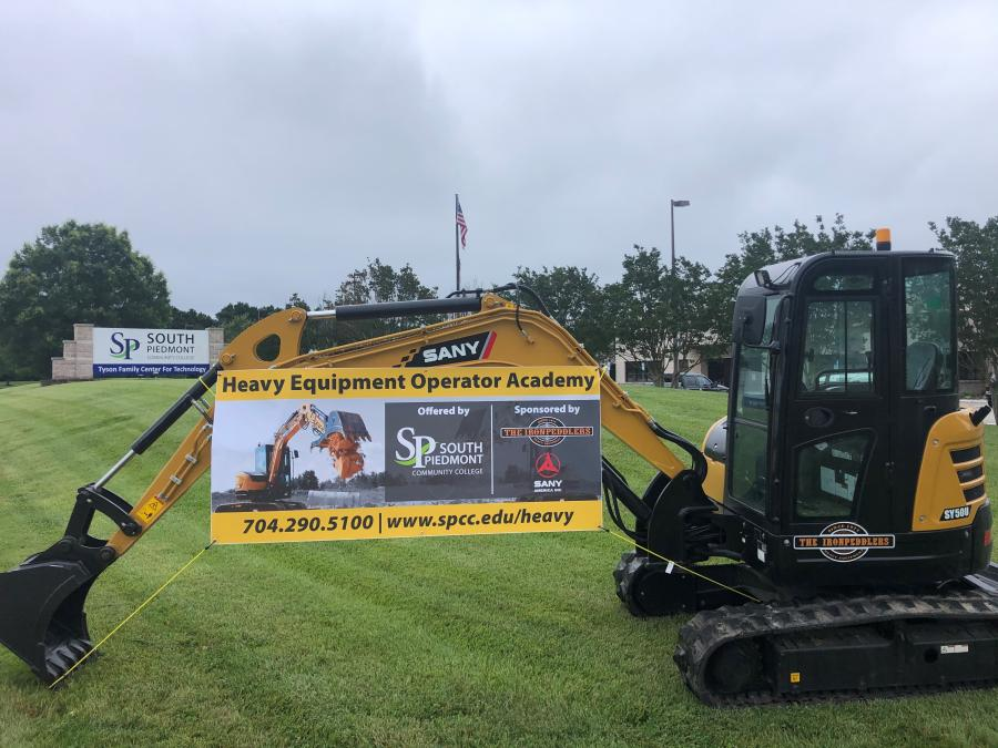 Due to the largesse of The Ironpeddlers, the Monroe, N.C.-based equipment and parts dealer, SPCC can train students more effectively because of a loan of small excavators manufactured by SANY and sold at the dealership.