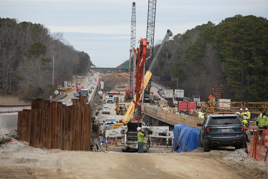 The I-64 Widening Segment III Project spans 8.2 mi. from approximately 1.15 mi. west of VA Rt. 199, Lightfoot (Exit 234), to 1.05 mi. west of Rt. 199, Humelsine Parkway/Marquis Center Parkway (Exit 242). (VDOT photo)