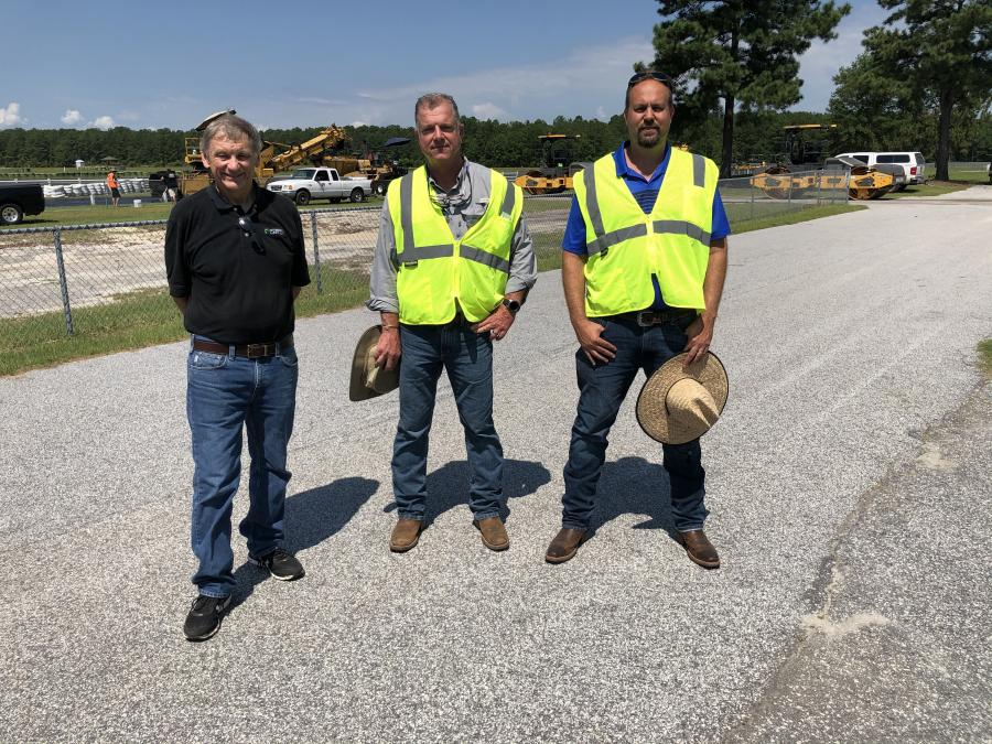 (L-R): Michael Cummings, owner of Carolina Motorsports Park; and Lee Sanders, vice president, and Thad Preslar, president, both of Lynches River Contracting Inc.