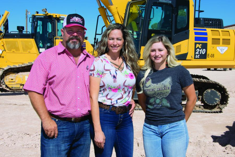 (L-R): Jason and Tassa Fenn own and operate Longhorn Construction Services, which specializes in earthwork, and their daughter, Kylee, is now a full-time member of the Midland firm.