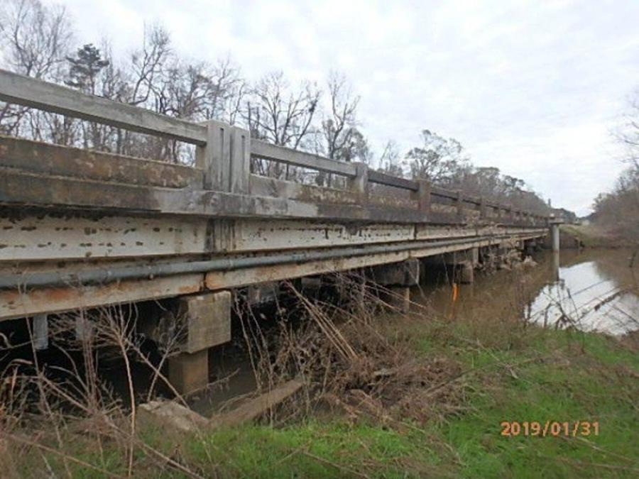 The Pachitla Creek bridge in Calhoun County that will be replaced, along with two creek overflow bridges. This photo is from the last bridge inspection. (Georgia Department of Transportation photo)