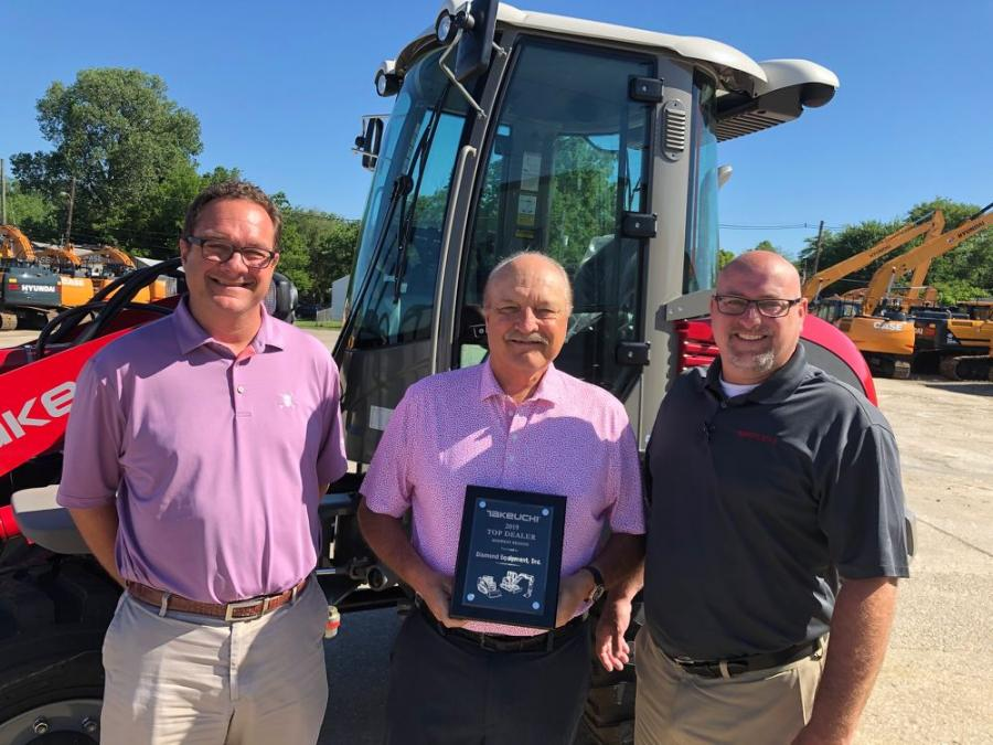 (L-R) are Bob Brucken, vice president of Diamond Equipment; Dave Clement, owner of Diamond Equipment; and Paul Wade, Takeuchi Midwest region business manager.