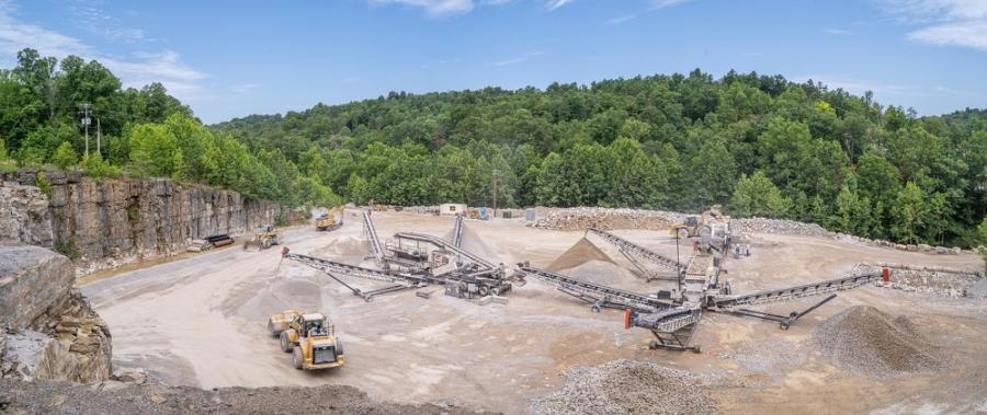 Installed by Powerscreen Crushing and Screening, the new spread at Allen Company's Clover Bottom Quarry consists of a Cedarapids CRJ3255 jaw crusher; a Cedarapids CRS620H triple deck screen; and a Cedarapids CRC380XHLS cone and screen plant.