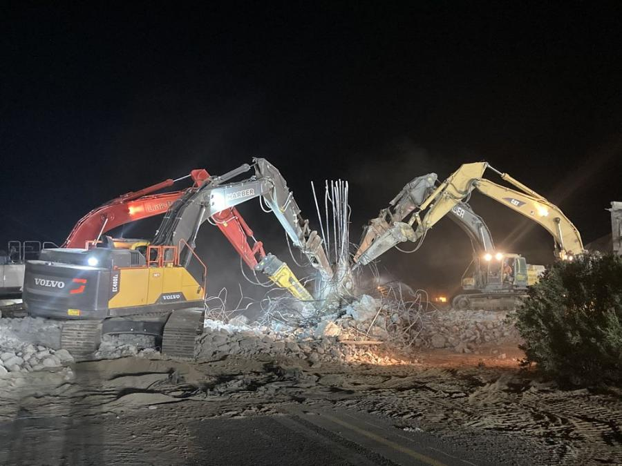 Two Volvo EC480E excavators, a Cat 345B excavator and a Link-Belt 470X excavator – with 1,100 FTP breakers – perform demo work on the $44 million Interstate 8/Imperial Avenue  Interchange project.