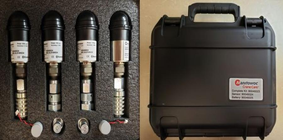 The kit communicates wirelessly via Bluetooth with a smartphone app and comes with two transducers fitted with Stauff pressure test connectors and two transducers fitted with Parker quick disconnect connectors. Also included in the kit are a #4 and #6 SAE J1453 ORFS adapter and two spare batteries.