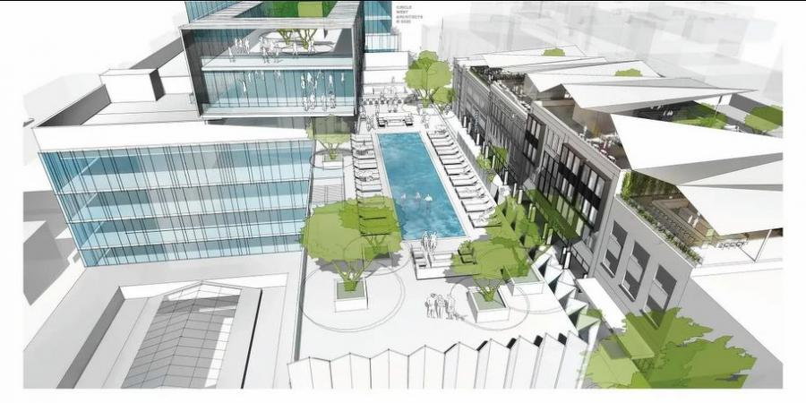 The project, which is being called The Block, would have a centerpiece 48-story high rise development called the Dansby Tower. (theblock.live rendering)