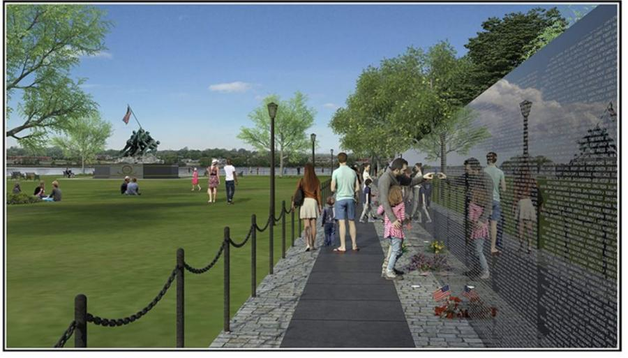 Scheduled to be completed before Veterans Day on Nov. 11, 2020, the wall will be located in Fall River's Veterans' Memorial Bicentennial Park, where an Iwo Jima monument that honors World War II veterans, a Korean War memorial and a Gold Star Families Memorial are located.