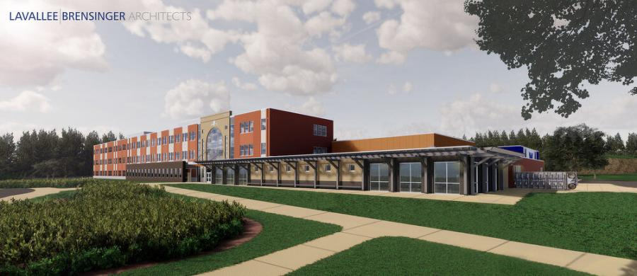The new school will accommodate 650 students, and include two gyms and two athletic fields, in addition to an enhanced theater. (Lavallee Brensinger Architects photo)