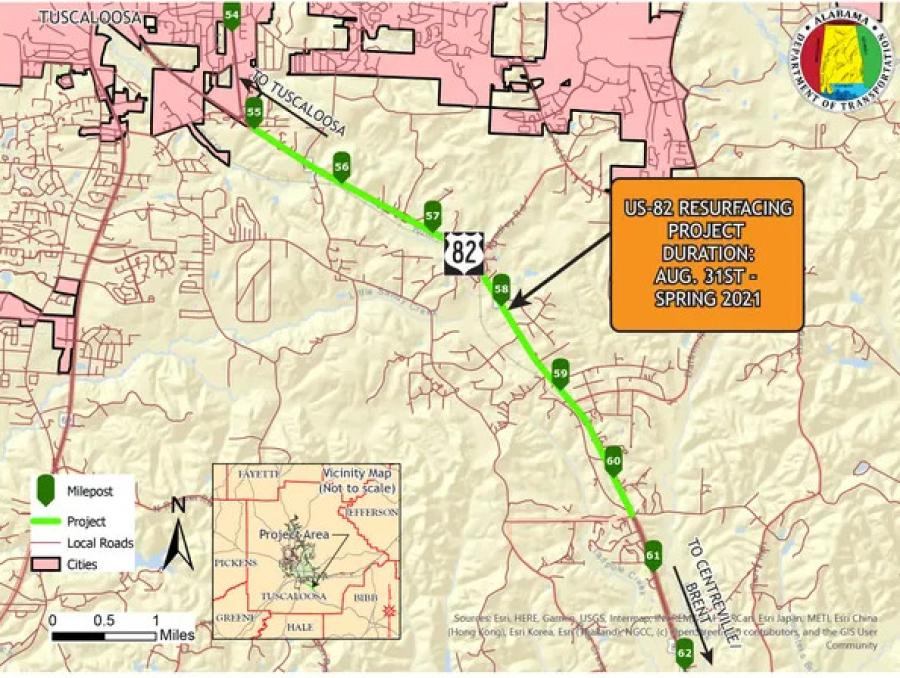 Work has begun on a project to resurface a 5.34 mi. stretch of U.S. Highway 82 in Tuscaloosa County between Greenwood Circle and Duncanville Middle School Road. (ALDOT photo)
