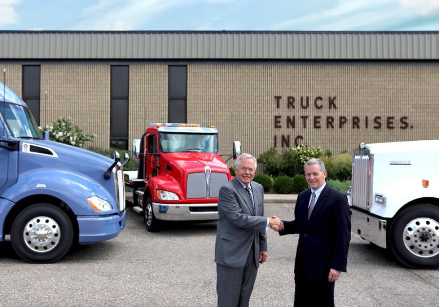 Jim Hartman (L), Truck Enterprises dealer principal,  and Kyle Treadway, third generation dealer principal of Kenworth Sales Company.
