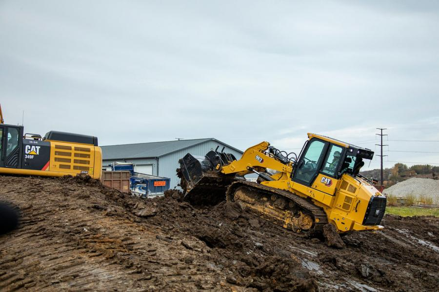 Crawler loaders like the new Cat 963 excel at working on slopes, especially in wet or sticky ground conditions.