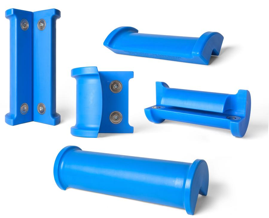 LiftGuard magnetic sling protectors are available in medium duty and heavy duty models. Specialty grooved units designed for I-beams and coil units for lifting steel coils also are available.