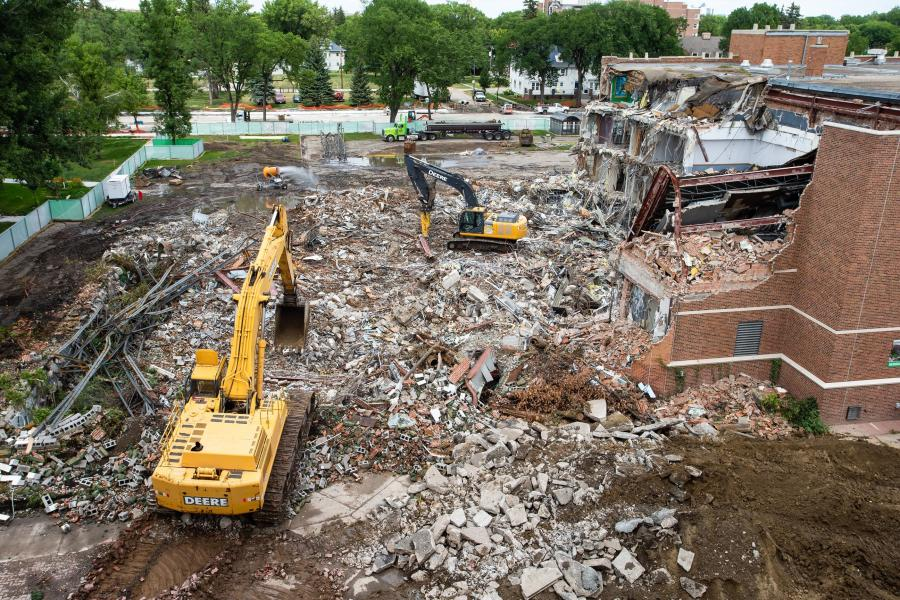 Demolition of the old UND Union took approximately 10 weeks. All debris was sorted, in order to separate as much recyclable material as possible. Rubble that could be salvaged was sent to local facilities.