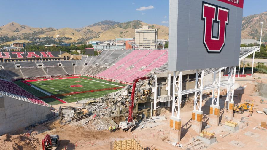 Layton Construction, based in Sandy, began its demolition on Monday, Aug. 24, at The University of Utah's Rice-Eccles Stadium. The project was pushed up three months after the 2020 Pac-12 football season was canceled due to the coronavirus pandemic. (University of Utah photo)