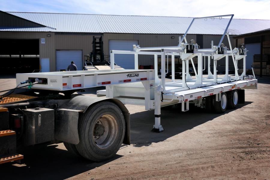 The customized Felling FT-40-2 triple reel trailer before being shipped and put into service.