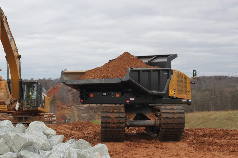 Crawler carriers are the perfect option here if leaving the grounds undisturbed is a requirement of the job you are performing. It also can be the perfect solution if you need to avoid leaving ruts behind since tracked dumpers will not get stuck nor create holes. (Pipeline Machinery photo)