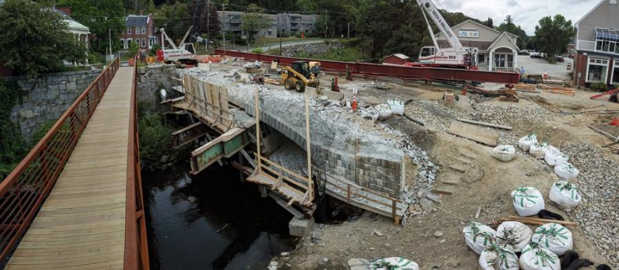 The replacement of the Main Street Bridge in Peterborough, N.H., is the main element of a construction project that started this summer and also includes work on Route 202, which intersects with Main Street.