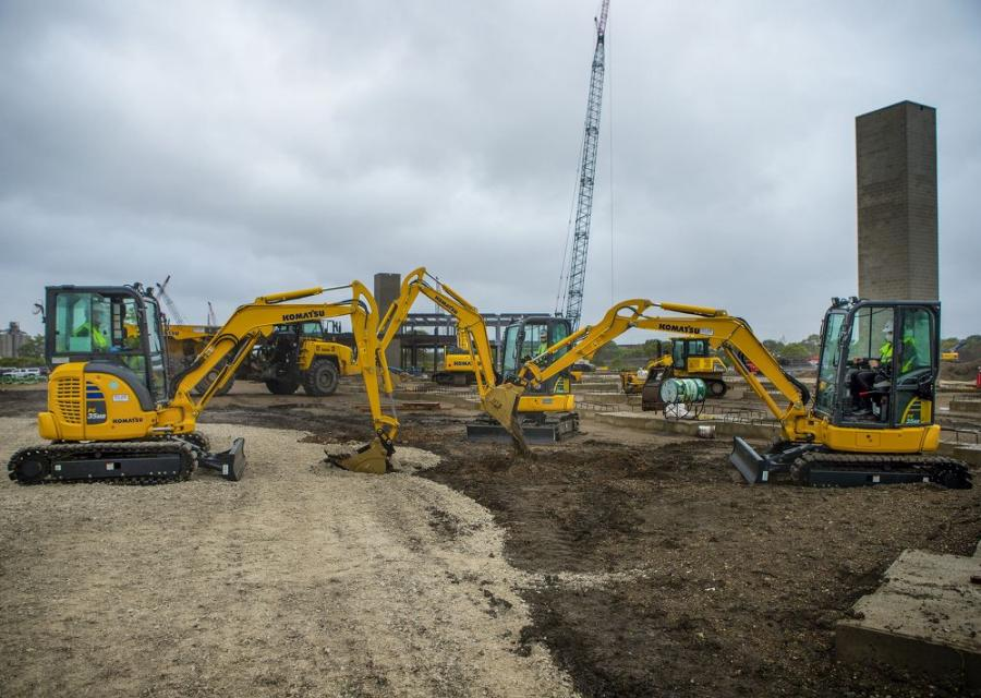 Komatsu PC35 excavators break ground at new site of Komatsu Mining.