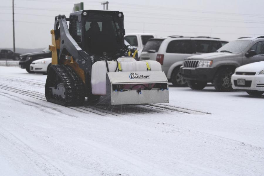 In an effort to try to reduce the amount of salt usage and the resulting damage and environmental impact from rock salt running into the lakes and rivers, LiquidRage uses brine instead to keep parking lots clean and people safe from slips and falls. (Kage Innovation photo)