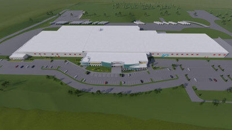 Aerial rendering of the new chicken harvesting facility.