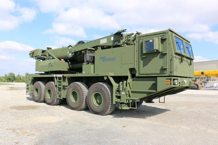 The 60 ton, four-axle capacity cranes that feature a Megaform boom were designed to meet the U.S. Army's needs, including the ability to ford water up to 48 in. and to operate in harsh conditions.