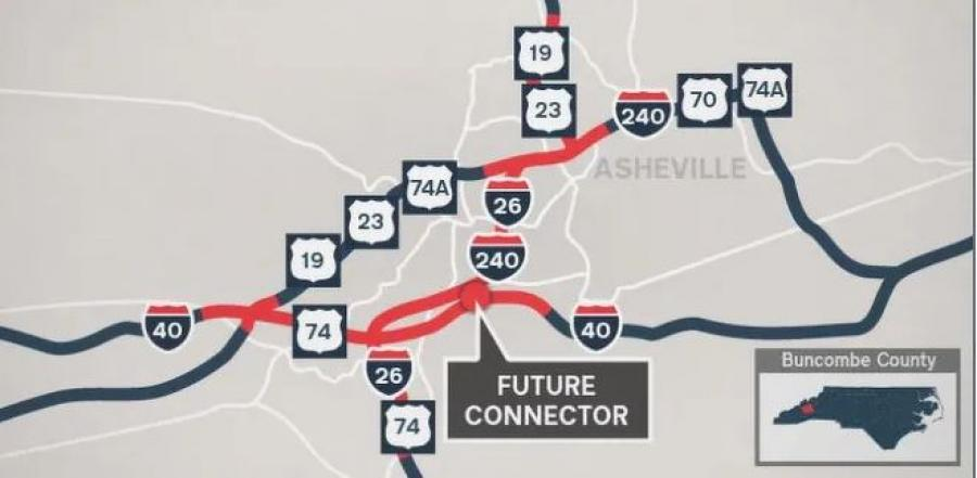 The planned Interstate 26 connector. (NCDOT map)