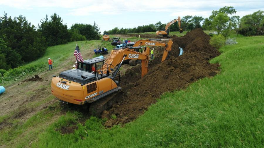 Leading the charge is a Case CX350D excavator equipped with a 2D Leica Geosystems machine control system, which allows the operator to dig to depth smoothly and efficiently.