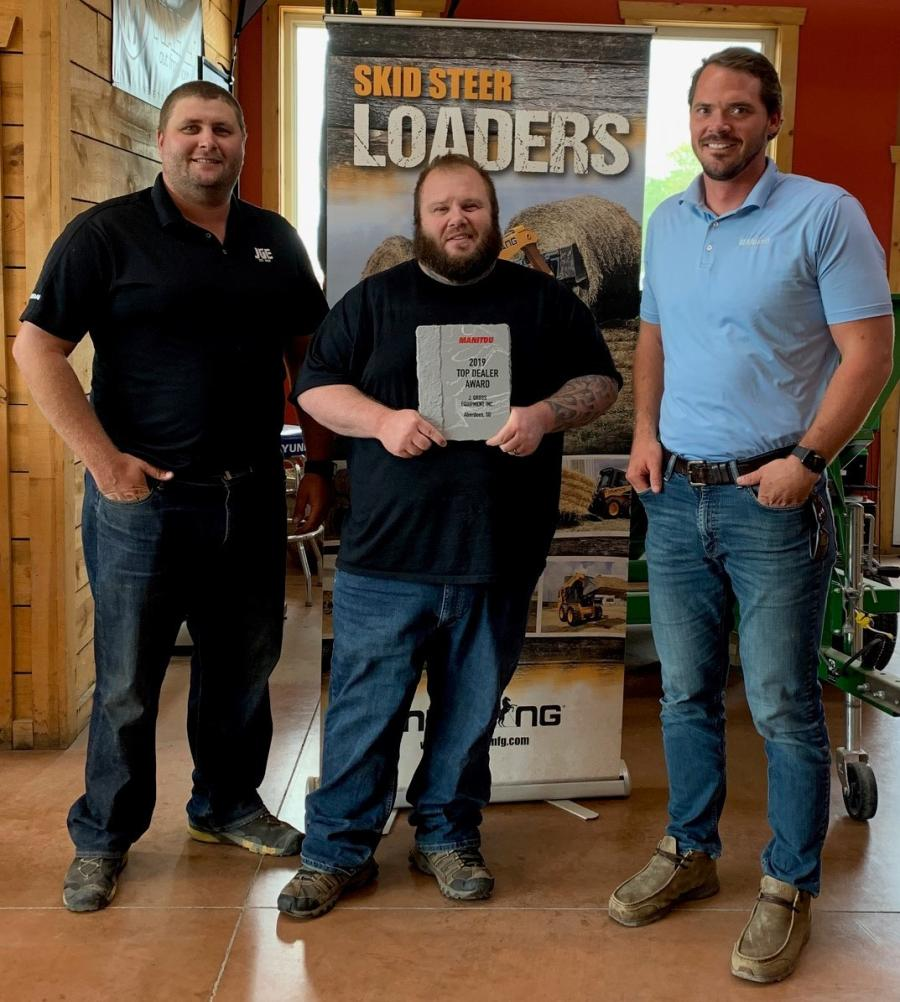 (L-R) are Bryce Smid, sales manager; Josh Gross, one of the owners of JGE Inc.; and Caleb Hinkkanen, Manitou Group regional sales manager.