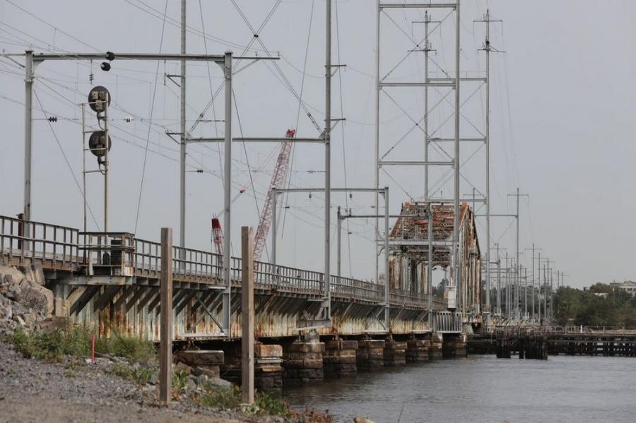The 112-year-old bridge carries NJ Transit's North Jersey Coast Line trains over the Raritan River between Perth Amboy and South Amboy. (Office of Gov. Phil Murphy photo)
